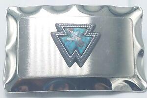 VIntage Western Silver Tone & Faux Turquoise Howlite Belt Buckle