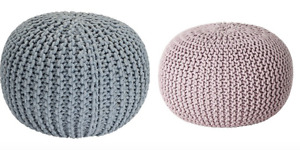 Kaikoo Lightweight Knitted Cotton Pouffe Footstool or Seat Pod in BLUE or LILAC