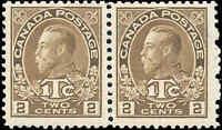 Mint H Canada Pair 2c+1c 1916 F+ Scott #MR4i War Tax Stamps