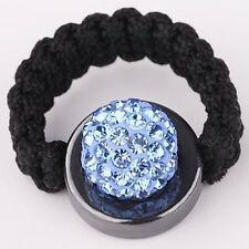 Shamballa Ring Ringe Glitzer Steine Strass Disco Ball Hellblau  #00627-04