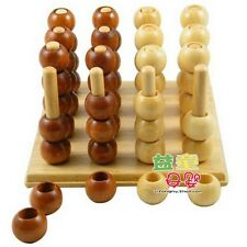 Connect Four 4 3D Wood Strategy Game Brain Teaser Toy Wooden Puzzle Toy