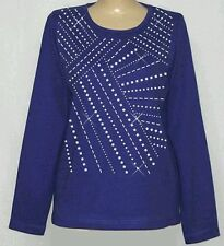 3/4 Sleeve Round Neck Studded Abstract Design  Womens S,M,L,XL,   1X,2X,3X