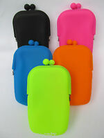 LADIES GIRLS SOFT SILICONE MAKE UP BAG COIN PURSE BRIGHT NEON 5 COLOURS UKSELLER