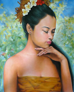 Hand painting Balinese Bali Woman Beautiful Colours 89