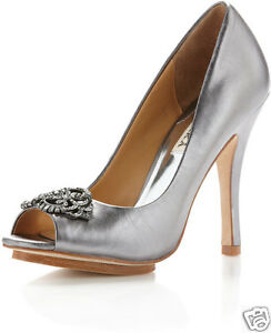 NIB Badgley Mischka SUSAN open toe pump shoes  silver gray metallic pewter 7,5