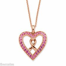 ROSE GOLD OVER SILVER  PINK SAPPHIRE BREAST CANCER HEART PENDANT CHAIN