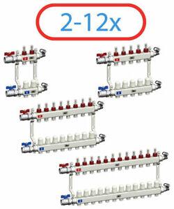 Heizkreisverteiler Edelstahl Fußbodenheizung Durchflussanzeiger 2 - 12 Entlüfter