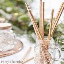 Rose Gold Paper Straws x 25 - Beautiful Botanics Wedding Range