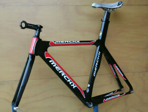 Eddy Merckx carbon fiber CXM black / red Track Pista frame frameset fixedgear