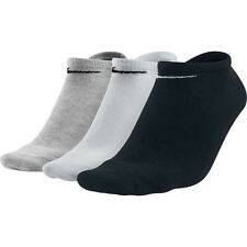 3 Pairs X Nike Cotton Rich NoShow Ankle Liners Trainer Gym Sport Socks Size 2-14 White Black Gray UK 2-5