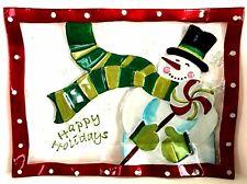 Pfaltzgraff Holiday Happenings Glass Serving Platter Happy Holidays Snowman