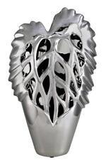 Large Contemporary Silver Leaf Design Vase Ceramic 50cm Flower Holder