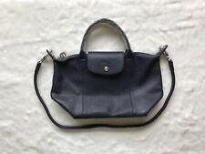 64f55fc4 Longchamp Le Pliage Cuir Top Handle Handbag Small Size Navy Bue Auth