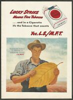 LUCKY STRIKE cigarettes - Lucky Strike Means Fine Tobacco- 1947 Vintage Print Ad