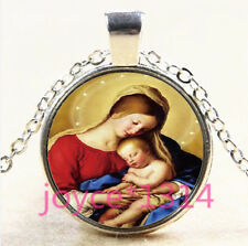 Virgin Mary and Baby Cabochon Tibetan silver Glass Chain Pendant Necklace #3855