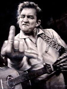 Reprint For Johnny Cash Giving the Finger Art BW Music Gigantic HD Print POSTER