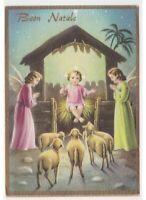 Jésus Enfant Bénédiction Noël Carte Postale Religieuse Nativité Anges Moutons