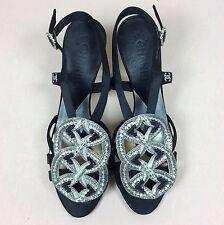 CHANEL Damen Schuhe Sling Pumps Gr 38,5 Schwarz Art Deco Tanz Abendschuhe Luxus