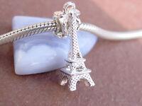 3D Silver Plated Eiffel Tower Paris France Slider Dangle Charm fit Euro Bracelet