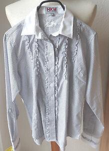 HKM Damen Rüschenbluse , grau weiß gestreift, Langarm,GR.L, Turnierbluse