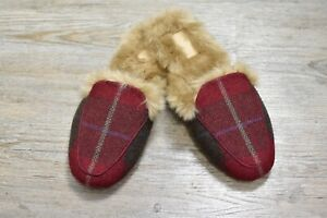 Joules NEW Red Check Festive Faux Fur Lined Opulent Slip On Slippers 7