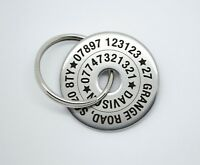 Personalised 30mm Pet Dog ID Disc Tag Tags- Stainless steel QUALITY ENGRAVING