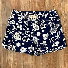 Old Navy Active Womens Blue Board Shorts w White Hibiscus Drawstring 1 Pkt Sz 8
