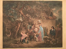 *RARE* GEORGE MORLAND COTTAGERS HAND PAINTED MEZZOTINT ENGRAVING PAINTING PRINT