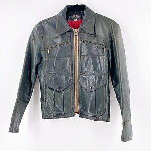 Vintage 1970's Kok New York Leather Motorcycle Jacket Women's Small Retro