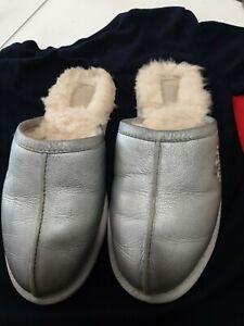 Ugg 5621 Ladies Silver Leather Sheepskin Slip On Mule Shoe Slippers 38 UK5 - 5.5