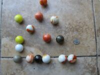 Colorful Lot of 15 LARGE Vintage Marbles, or BOULDERS or Shooters, 1940-50, Gift