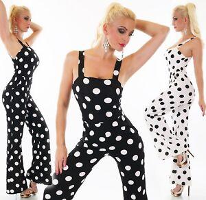 Donna Overall Tuta Pantaloni Completo Tuta Intera Pin Up Vintage Rockabilly Pois