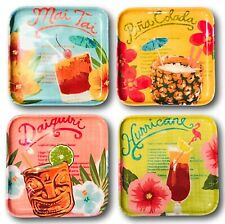 New listing Tommy Bahama Set of 4 Melamine Appetizer Canape Plates Tropical Drink Design