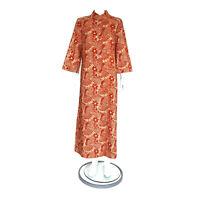 Vtg KIYOMI HAWAII LIBERTY HOUSE Batik Orange Brown Floral Maxi Dress M/L /4587
