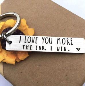 I Love You More Keyring Keychain Gift Birthday Christmas Girlfriend Boyfriend