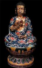1930s Chinese Gilded Hand Enamelled Porcelain Figure of Seated Buddha Dbl Lotus