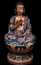 1930 Chino Dorado Mano Esmaltado Porcelana Figura De sentado Buda Dbl Lotus
