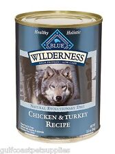 Blue Buffalo Wilderness Grain Free Turkey and Chicken Canned Dog Food (Case)
