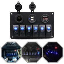 6Gang LED Schalter Schaltpanel Voltmeter USB 12V-24V Schalttafel Marine Bus Boot