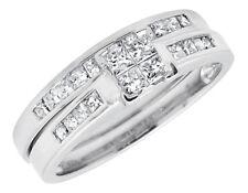 14K White Gold Invisible Princess-Set Quad Diamond Engagement Bridal Ring .71ct