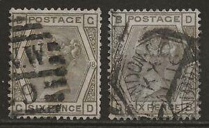GB 1881/1882 6d grey, complete plate set (pl#17/18) fine used SG#161 cat £160