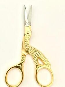 "Stork  Design 3.5"" Fancy Golden Multipurpose Small Embroidery Scissor."