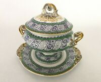 Antique John Ridgway Imperial Porcelain Covered Serving Bowl / Tureen - Roseraie