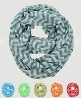 Wide Chevron Print Block Circle Loop Wrap Infinity Scarf Multi Color White Soft