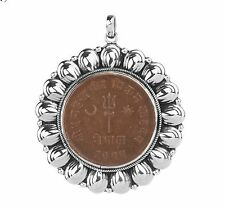 Nepal Copper Sun Moon Lotus Coin Sterling Pendant NEW with tags $52 Artisan