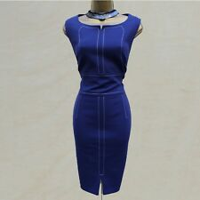 Karen Millen Royal Blue Top Stitched Tailored Office Work Pencil Dress 14 UK 42