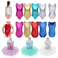 Kid Girls Gymnastics Leotard Dress Shiny Sleeveless Ballet Dance Bodysuit 4-14Y
