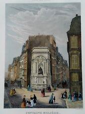 FONTAINE MOLIERE MONUMENT WaterColor Engraving 1855 CHAMOUIN Paris W/ Mat