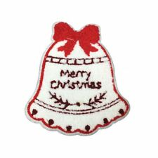 Fur Merry Christmas Bell (Iron On) Embroidery Applique Patch Sew Iron Badge