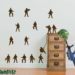 Military Soldiers Pack of 15 Army Men Matt Wall & Window Stickers Decal Kids A1